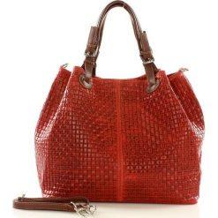 Kuferki damskie: Skórzana torebka shopper czerwona MEREDITH SOPHIA