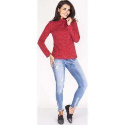 Bluzki asymetryczne: Czerwona Melanżowa Bluzka z Luźnym Golfem