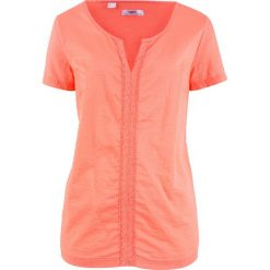 Bluzka bawełniana, krótki rękaw bonprix łososiowy. Brązowe bluzki damskie bonprix, z bawełny, z krótkim rękawem. Za 49,99 zł.