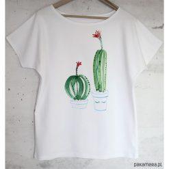Bluzki damskie: KAKTUSY bluzka bawełniana biała z nadrukiem