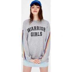 Bluzy rozpinane damskie: Bluza college z napisem