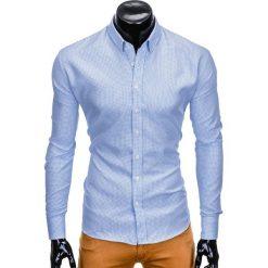 KOSZULA MĘSKA Z DŁUGIM RĘKAWEM K411 - BIAŁA/BŁĘKITNA. Białe koszule męskie na spinki Ombre Clothing, m, z kontrastowym kołnierzykiem, z długim rękawem. Za 69,00 zł.