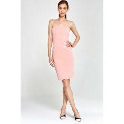 Różowa Sukienka Wieczorowa Ołówkowa Tuba z Odkrytymi Ramionami. Czerwone sukienki balowe marki Molly.pl, na co dzień, l, z gorsetem, midi, gorsetowe. Za 159,90 zł.