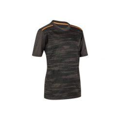 Koszulka Gym Energy. Szare bluzki dziewczęce z nadrukiem marki DOMYOS, z elastanu, z kapturem. W wyprzedaży za 15,99 zł.