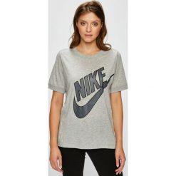 Nike Sportswear - Top sportowy. Szare topy sportowe damskie Nike Sportswear, s, z nadrukiem, z bawełny, z krótkim rękawem. W wyprzedaży za 69,90 zł.