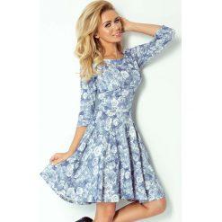 Sukienki balowe: Niebieska Sukienka w Kwiaty z Długim Rękawem