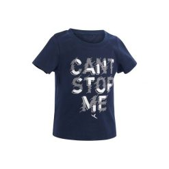 Koszulka Gym 100. Szare bluzki dziewczęce z nadrukiem marki DOMYOS, z elastanu, z kapturem. Za 14,99 zł.