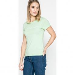 Calvin Klein Jeans - Top. Szare topy damskie marki Calvin Klein Jeans, l, z nadrukiem, z bawełny, z okrągłym kołnierzem. W wyprzedaży za 99,90 zł.