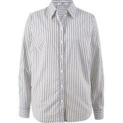 Bluzka z długim rękawem bonprix biel wełny - szary w paski. Białe bluzki asymetryczne bonprix, w paski, z wełny, z długim rękawem. Za 32,99 zł.