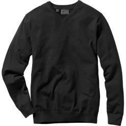 Swetry klasyczne męskie: Sweter z dekoltem w serek Regular Fit bonprix czarny