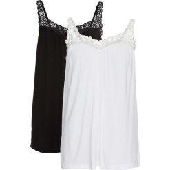 Top (2 szt.) bonprix czarny + biały. Białe topy damskie bonprix, w koronkowe wzory, z koronki. Za 75,98 zł.