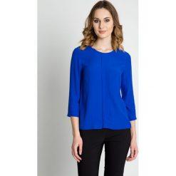 Bluzki asymetryczne: Szafirowa bluzka z rękawem 3/4 i zakładką BIALCON