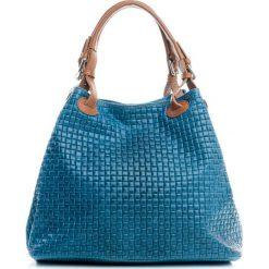 Torebki klasyczne damskie: Skórzana torebka w kolorze niebieskim – 35 x 17 x 28 cm
