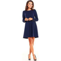 Granatowa Sukienka Oversize z Suwakami na Rękawach. Niebieskie sukienki mini marki Molly.pl, do pracy, l, biznesowe, z długim rękawem, oversize. Za 139,90 zł.