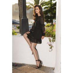 Zwiewna sukienka czarna ALISON. Czarne sukienki hiszpanki Lemoniade, do pracy, z szyfonu, biznesowe, z falbankami, z długim rękawem, wyszczuplające. Za 169,00 zł.