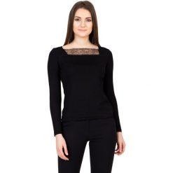 Bluzki asymetryczne: Dzianinowa czarna bluzka z długim rękawem BIALCON