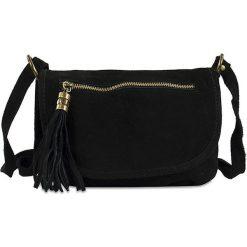 """Skórzana torebka """"Nita"""" w kolorze czarnym - 27 x 19 x 4,5 cm. Czarne torebki klasyczne damskie Spéciale Maroquinerie, w paski, z materiału. W wyprzedaży za 112,95 zł."""