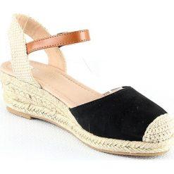 Rzymianki damskie: Sandały na koturnie w kolorze czarnym