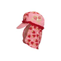 Playshoes  Girls Kapelusz przeciwsłoneczny Truskawka kolor czerwony. Czerwone czapeczki niemowlęce Playshoes, z elastanu. Za 49,50 zł.