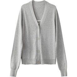 Rozpinany sweter, dekolt w serek, napis z tyłu. Szare kardigany damskie marki La Redoute Collections, m, z bawełny, z kapturem. Za 141,08 zł.