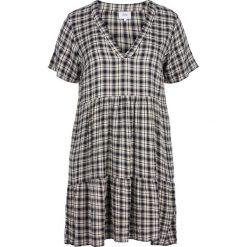 Sukienki hiszpanki: Półdługa sukienka w kratkę o rozszerzanym fasonie, krótkie rękawy