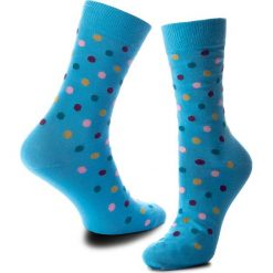 Skarpety Wysokie Unisex HAPPY SOCKS - DOT01-6002 Kolorowy Niebieski. Niebieskie skarpetki męskie Happy Socks, w kolorowe wzory, z bawełny. Za 34,90 zł.