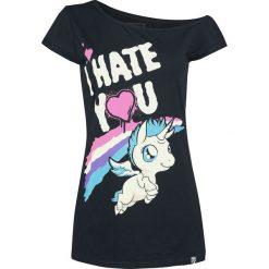 Jednorożec I Hate You Koszulka damska czarny. Szare bluzki nietoperze marki TOMMY HILFIGER, m, z nadrukiem, z bawełny, casualowe, z okrągłym kołnierzem. Za 79,90 zł.