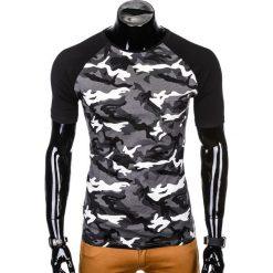 T-SHIRT MĘSKI Z NADRUKIEM S1009 - SZARY/MORO. Czarne t-shirty męskie z nadrukiem marki Ombre Clothing, m, z bawełny, z kapturem. Za 35,00 zł.