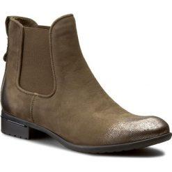 Sztyblety CARINII - B2412/N I43-000-PSK-769. Zielone buty zimowe damskie Carinii, z materiału, na obcasie. W wyprzedaży za 229,00 zł.