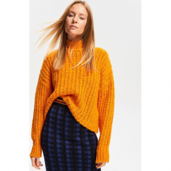 Gruby sweter ze stójką - Pomarańczo. Niebieskie swetry klasyczne damskie marki ARTENGO, z elastanu, ze stójką. Za 139,99 zł.