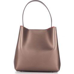 Torebki klasyczne damskie: Skórzana torebka w kolorze jasnobrązowozłotym – (S)40 x (W)45 x (G)15 cm