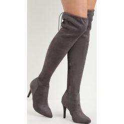 Ciemnoszare Kozaki Ricci. Czarne buty zimowe damskie marki Kazar, ze skóry, przed kolano, na wysokim obcasie, na obcasie. Za 89,99 zł.