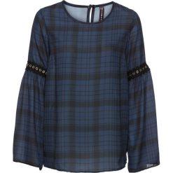 Bluzka w kratę z ćwiekami bonprix ciemnoniebiesko-szary w kratę. Niebieskie bluzki z odkrytymi ramionami marki bonprix. Za 49,99 zł.
