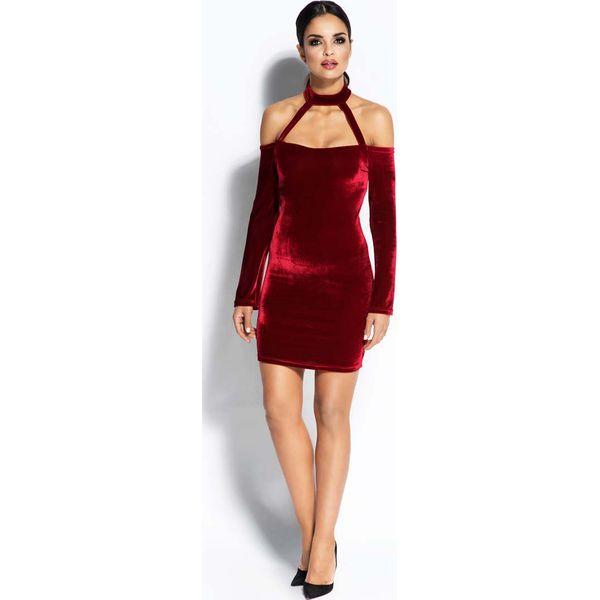 97114065bd Bordowa Sukienka Ołówkowa Mini z Odkrytymi Ramionami - Czerwone ...