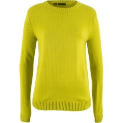 Sweter bonprix pistacjowy. Niebieskie swetry klasyczne damskie marki DOMYOS, z elastanu, street, z okrągłym kołnierzem. Za 37,99 zł.