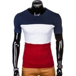 T-SHIRT MĘSKI Z NADRUKIEM S1005 - GRANATOWY/BORDOWY. Czarne t-shirty męskie z nadrukiem marki Ombre Clothing, m, z bawełny, z kapturem. Za 29,00 zł.
