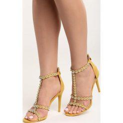 Żółte Sandały Search&Destroy. Żółte sandały damskie marki Kazar, ze skóry, na wysokim obcasie, na obcasie. Za 59,99 zł.