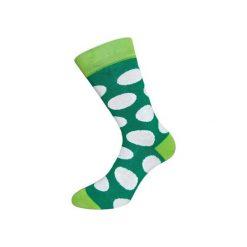 Skarpetki damskie: Zielone skarpety w białe grochy