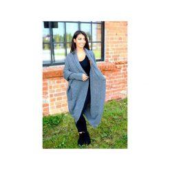 Długi klasyczny sweter damski, grafitowy sweter asymetryczny, kardigan na zimę. Szare kardigany damskie ekoszale. Za 189,00 zł.