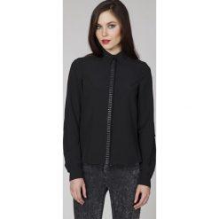 Bielizna damska: Czarna Elegancka Koszula z Biżuteryjną Plisą