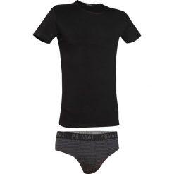 Męski komplet: T-shirt i slipy PRIMAL Nero. Czarne slipy męskie Astratex, m, z napisami, z bawełny, z podwójnym kołnierzykiem. Za 53,99 zł.