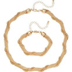 Łańcuszek + bransoletka (2 części) bonprix złoty kolor. Żółte bransoletki damskie marki Nomination, z mosiądzu. Za 27,99 zł.