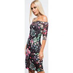 Czarna Sukienka w Kwiaty 11940. Czarne sukienki Fasardi, l, w kwiaty. Za 69,00 zł.