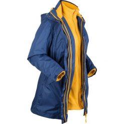 Płaszcz outdoorowy funkcyjny 3 w 1 bonprix kobaltowy - żółty curry. Niebieskie płaszcze damskie bonprix, s, z polaru. Za 299,99 zł.