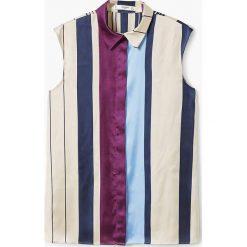 Mango - Koszula Mandi2. Szare koszule damskie Mango, l, w paski, z materiału, klasyczne, z klasycznym kołnierzykiem, z krótkim rękawem. Za 139,90 zł.