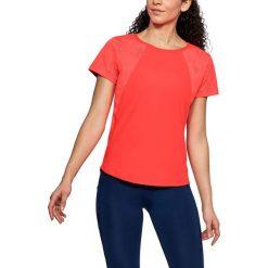 Koszulka w kolorze koralowym. Czerwone t-shirty damskie Under Armour, xs, z materiału, z okrągłym kołnierzem. W wyprzedaży za 99,95 zł.