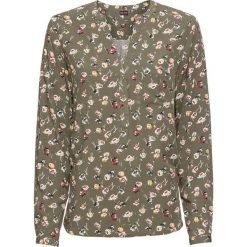 Bluzka z dekoltem w serek bonprix ciemnooliwkowy w kwiaty. Czarne bluzki z odkrytymi ramionami marki bonprix, eleganckie. Za 74,99 zł.