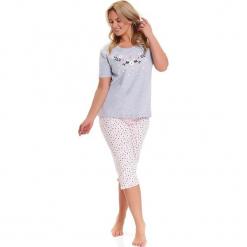 Piżama w kolorze szaro-jasnoróżowym - t-shirt, spodnie. Czerwone piżamy damskie Doctor Nap, l, w kropki. W wyprzedaży za 74,95 zł.