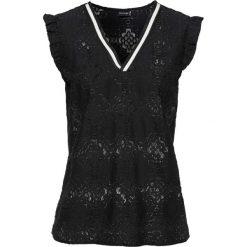 Bluzki damskie: Bluzka koronkowa z kontrastowymi paskami w dekolcie bonprix czarny