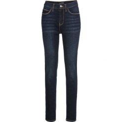 Dżinsy SKINNY z wysoką talią bonprix ciemny denim. Niebieskie jeansy damskie skinny bonprix, z denimu. Za 129,99 zł.
